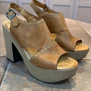 Nicole resound leather open toe 4.5 inch heel
